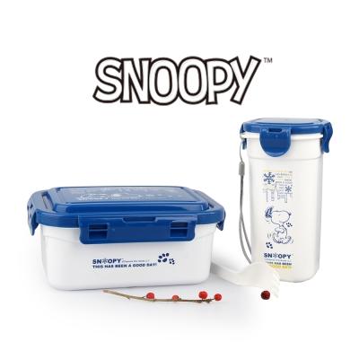 SNOOPY史努比踏雪輕量塑膠餐盒水杯組