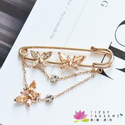 微醺禮物-水鑽-鍍K金-蝴蝶-胸針