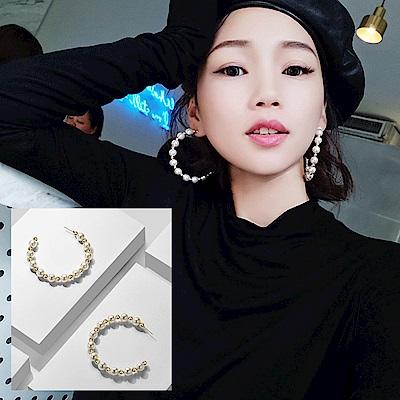 梨花HaNA 韓國氣勢女王珍珠奢華半圈大耳環