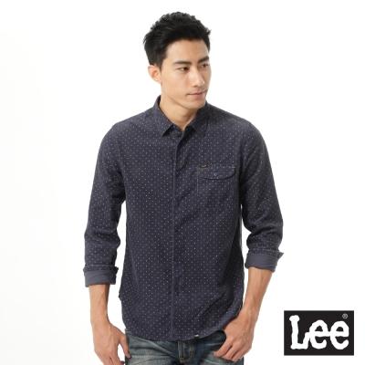 Lee法蘭絨印花長袖襯衫 男款-深藍