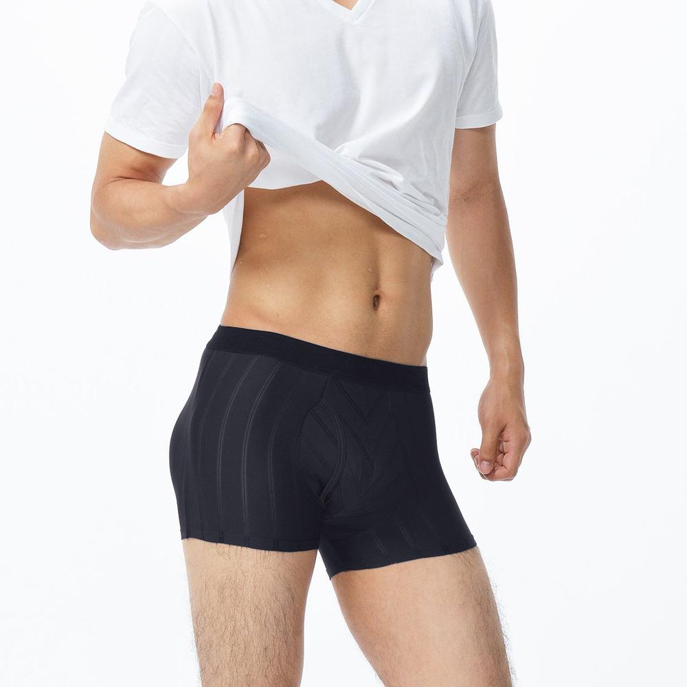 BVD NEW YORK 特達系列 時尚直條紋四角褲 (黑色)