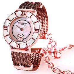 CHARRIOL 夏利豪羅馬數字小秒針腕錶-古銅金/粉貝