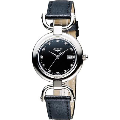 LONGINES 騎仕系列優雅真鑽女錶(L61314570)-黑/30mm