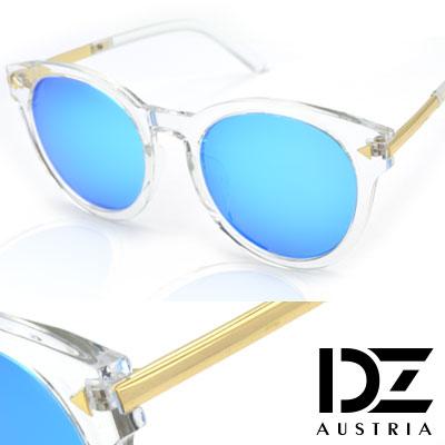 【2件59折】DZ 摩登小三角 抗UV 偏光太陽眼鏡墨鏡(透框冰藍膜)