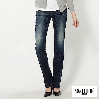 SOMETHING NEO FIT中低腰中直筒牛仔褲-女-原藍磨