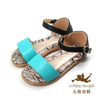 天使童鞋-D310  韓式簡約素色涼鞋(小-中童)-綠