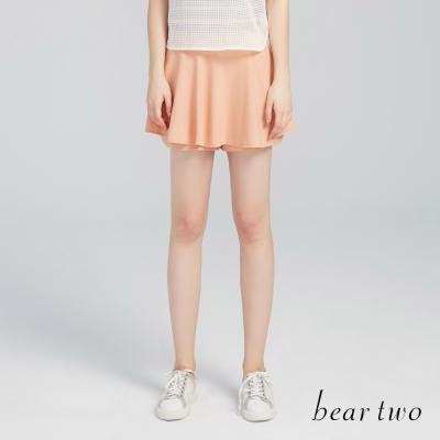 beartwo 波浪裙擺造型短褲裙(粉橘)-動態show
