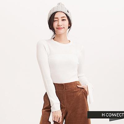 H:CONNECT 韓國品牌 女裝 - 設計袖坑條針織上衣 - 白
