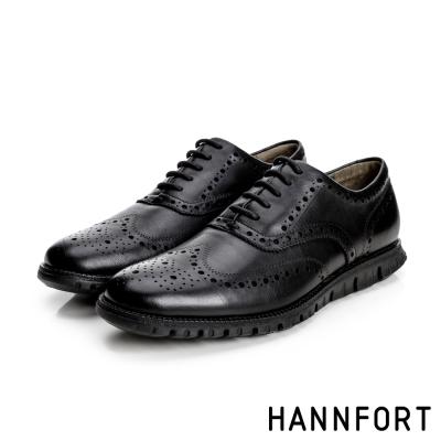 HANNFORT ZERO GRAVITY牛津翼紋雕花真皮氣墊鞋-男-曜石黑