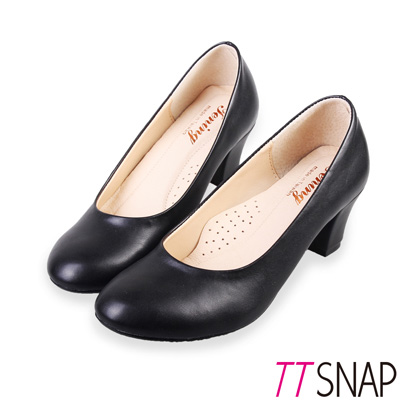 TTSNAP中跟鞋-MIT素面基本百搭真皮軟Q跟鞋 黑