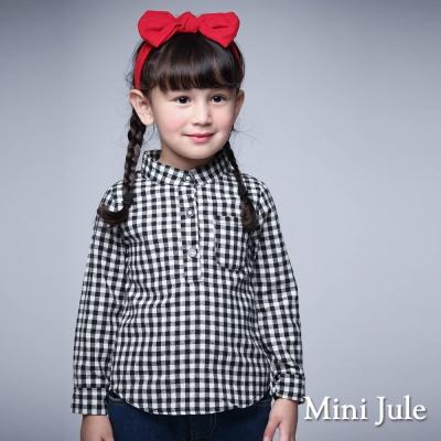 Mini Jule 童裝-上衣 立領格紋單口袋長袖上衣(黑)