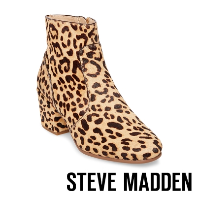 STEVE MADDEN-KRISTINA 拉鍊粗跟短筒靴-豹紋