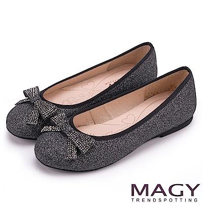 MAGY 清新甜美女孩 金蔥亮布蝴蝶結平底娃娃鞋-灰色