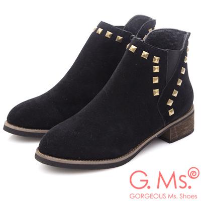 G.Ms. 麂絨布鉚釘V口剪裁拉鍊短靴-黑色