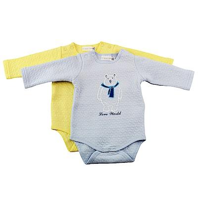 愛的世界 針織提花連身衣2件包-藍+黃/3M~1歲