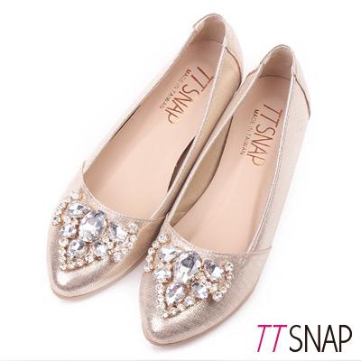 TTSNAP內增高-MIT奢華愛心水鑽尖頭平底鞋 金