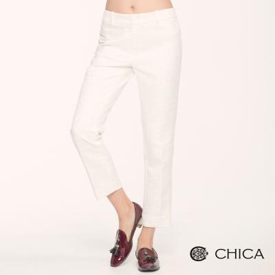 CHICA 低調美感蕾絲九分長褲(2色)