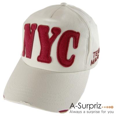 A-Surpriz  帥性美式風字母NYC棒球帽(米卡其)