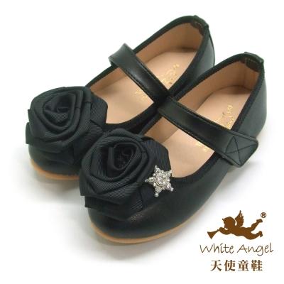 天使童鞋 J801香頌星鑽玫瑰公主鞋 黑