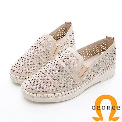 GEORGE 喬治-簍空金蔥平底休閒鞋-金