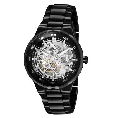 Kenneth Cole 氣勢磅礡雙面鏤空機械錶-黑/43mm