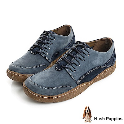 Hush Puppies SWAY亞麻大底綁帶休閒便鞋-藍色