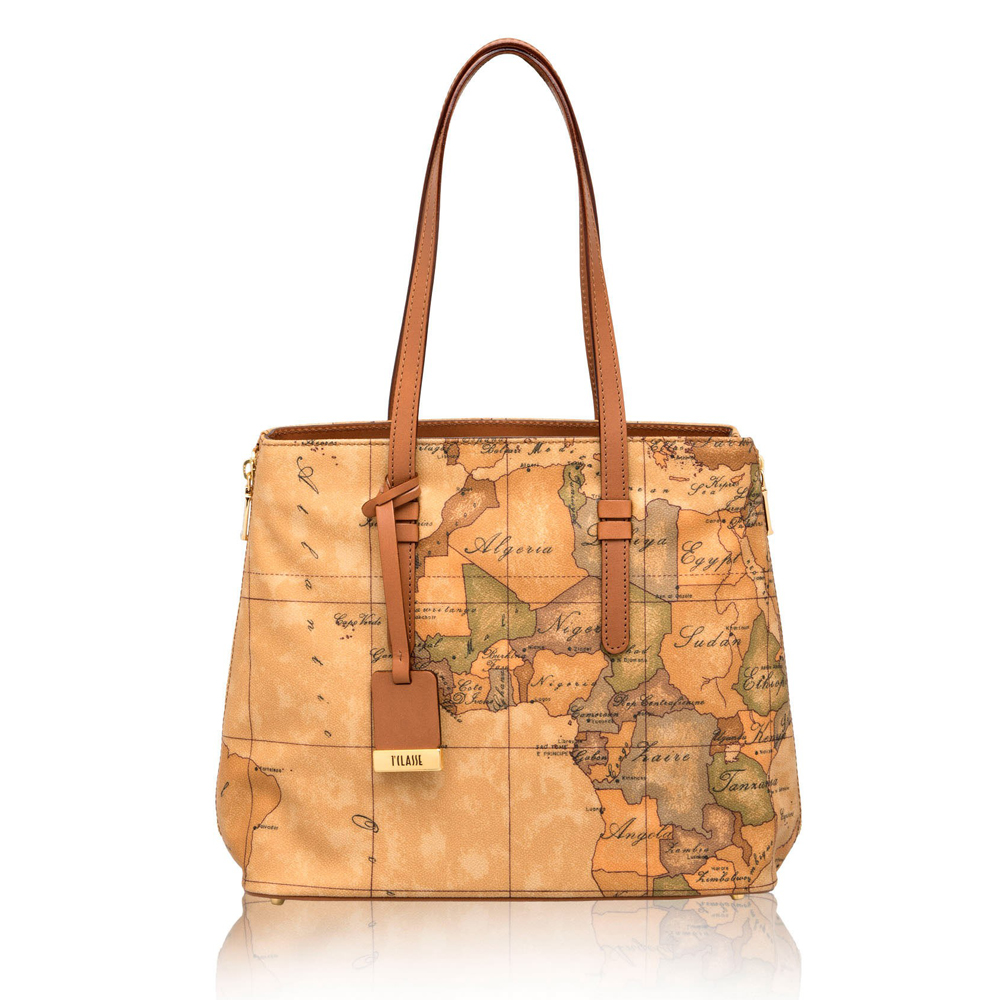 Alviero Martini 義大利地圖包 長把手提肩背托特包(中)-地圖黃