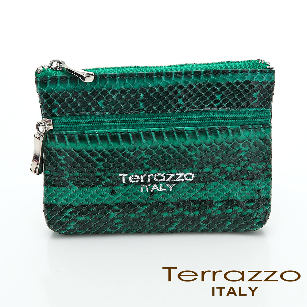 【Tree House】義大利Terrazzo 時尚蛇皮雙層零錢鑰匙包-綠色 73S1997A10308