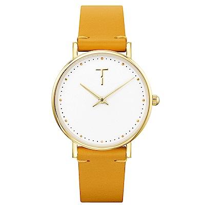 TYLOR 棉花派對時尚皮革手錶-白X深黃/33mm