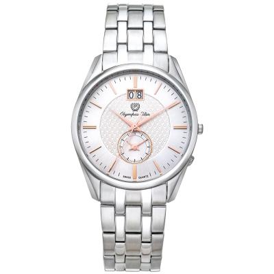 Olympia Star奧林比亞之星經典都會系列小秒針時尚腕錶-白/36mm