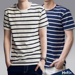 上衣 經典條紋雙色短袖T恤 三色-HeHa