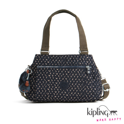 Kipling-手提包-靛藍棉點印花