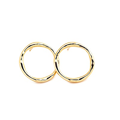 GORJANA 金色立體小圓耳環 厚版簍空設計 鑲18K金 Quinn