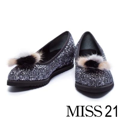 跟鞋 MISS 21 復古活動式毛毛尖頭低跟娃娃鞋-銀