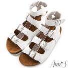 Ann'S視覺個性-羅馬牛皮軟底寬版全真皮涼鞋 白