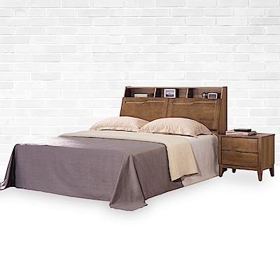 時尚屋 艾丹淺胡桃床箱型 6 尺加大雙人床(不含床頭櫃-床墊)