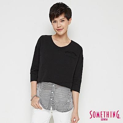 SOMETHING 拼接層次七分袖造型T恤-女-黑色