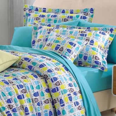 貓頭鷹派對-藍-精梳棉-加大四件式兩用被床包組
