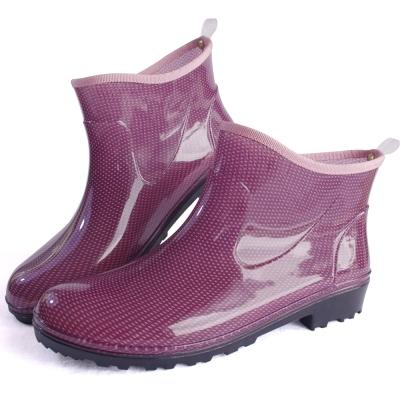 紫點一體成型減壓短筒雨鞋