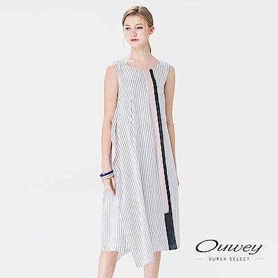 OUWEY歐薇 斜裁印條拼接色塊洋裝(米)
