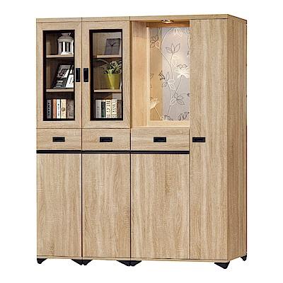 品家居  曼達5.3尺橡木紋雙面多功能屏風櫃/玄關櫃-158.4x39.7x189cm免組