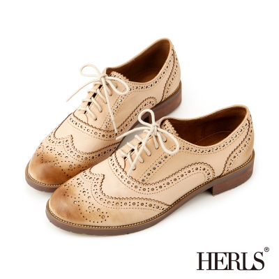HERLS 全真皮仿舊刷色雕花牛津鞋-米色
