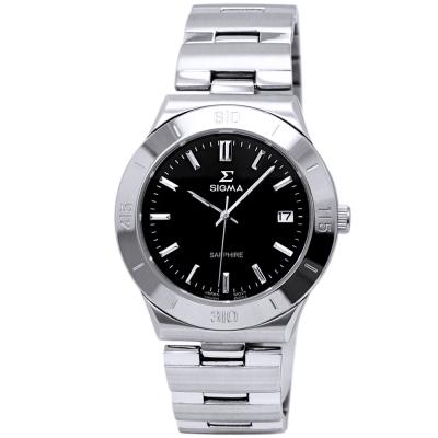 SIGMA 都會風情時尚情人男錶-黑X銀/37mm