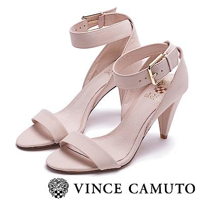 Vince Camuto 高質感牛皮繞踝高跟涼鞋-粉色