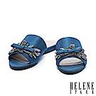 拖鞋 HELENE SPARK 低調閃爍水鑽飾一字絲緞平底拖鞋-藍