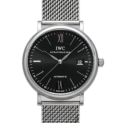IWC 萬國錶 Portofino IW356506 柏濤菲諾自動機械米蘭帶腕錶-黑/40mm