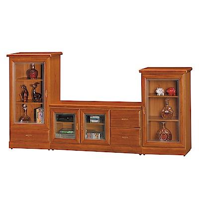 品家居 查雅7.9尺樟木紋電視櫃組合(長櫃+展示櫃)-238x45x120cm免組