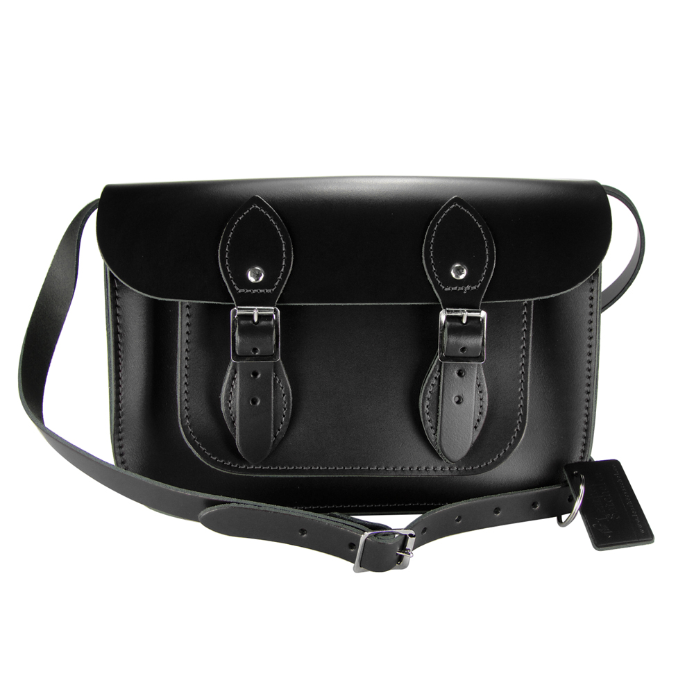 The Leather Satchel 英國手工牛皮劍橋包 肩背 側背包 火炭黑 11吋