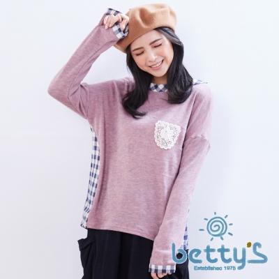 betty's貝蒂思 花朵圖樣領口拼接格子針織衫(粉色)