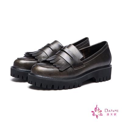 達芙妮DAPHNE 休閒鞋-復古流蘇仿舊刷色平底鞋-古銅